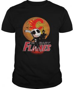Jack Skellington Holding Hockey Stick Calgary Flames Sunset  Unisex