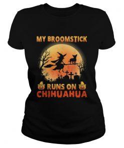 My Broomstick Run On Chihuahua Moon Pumpkins Halloween  Classic Ladies