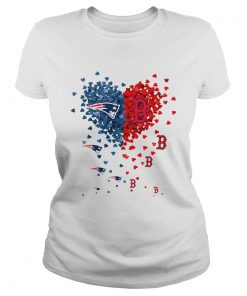 New England Patriots And Boston Red Sox Tiny Hearts Shape Shirt Classic Ladies