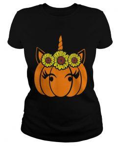 Nice Sunflower Unicorn Heart Pumpkin Costume Halloween Funny  Classic Ladies