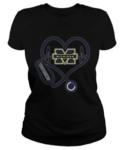 Nurse Michigan Wolverines heart  Classic Ladies