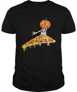 Pumpkin Skeleton Riding a Pizza Halloween  Unisex