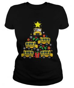 School Bus Driver Christmas Tree Shirt Classic Ladies