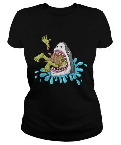 Shark Eats Zombie Funny Halloween Boys Girls Kids  Classic Ladies
