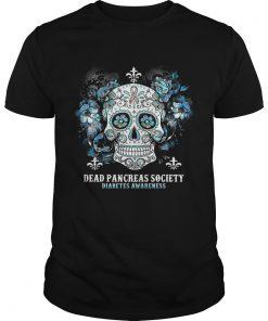 Skull Cancer Dead Pancreas Society Diabetes Awareness Shirt Unisex