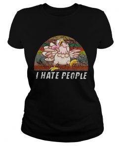 Thanksgiving Turkey I Hate People Vintage TShirt Classic Ladies
