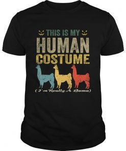 This Is My Human Costume Im Really A Llama Funny Halloween TShirt Unisex