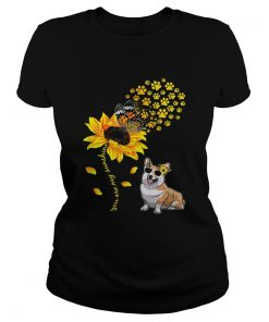 Top You Are My Sunshine Sunflower Corgi for men woman  Classic Ladies