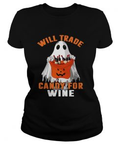 Will Trade Candy For Wine Funny Wine Lover TShirt Classic Ladies