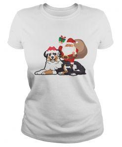 Beautiful Santa Riding Australian Shepherd Christmas Pajama Gift  Classic Ladies