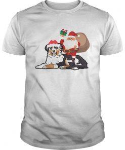 Beautiful Santa Riding Australian Shepherd Christmas Pajama Gift  Unisex