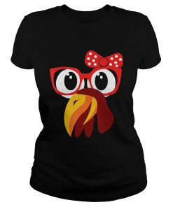 Cute Turkey Face With GlassesBow Nerdy  Classic Ladies