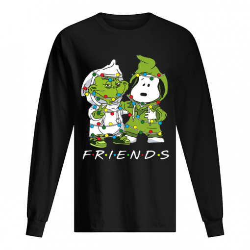 Friends Grinch and Snoopy light christmas  Long Sleeved T-shirt