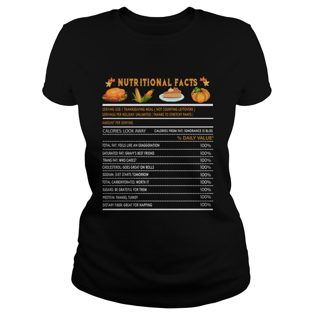 Funny Thanksgiving Nutrition Fast Food Vegetables Meal Gift Classic Ladies