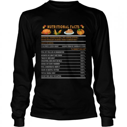 Funny Thanksgiving Nutrition Fast Food Vegetables Meal Gift  LongSleeve