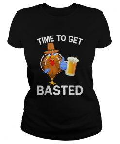 Funny Time To Get Basted Beer Drinking Thanksgiving Turkey  Classic Ladies