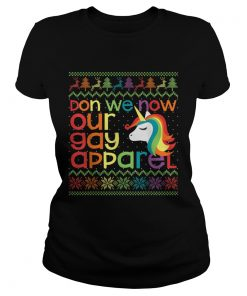 Gay Christmas Rainbow Unicorn Don We Now Our Gay Apparel  Classic Ladies