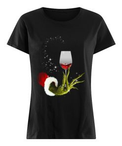 Grinch Hand Holding Glass of Wine  Classic Women's T-shirt