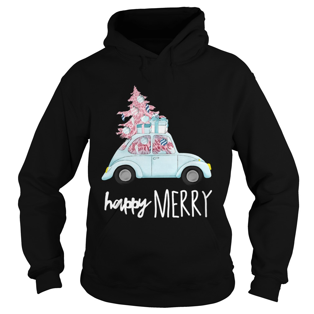 Happy Merry Vintage Car Christmas Holiday Pink Xmas Tree Hoodie