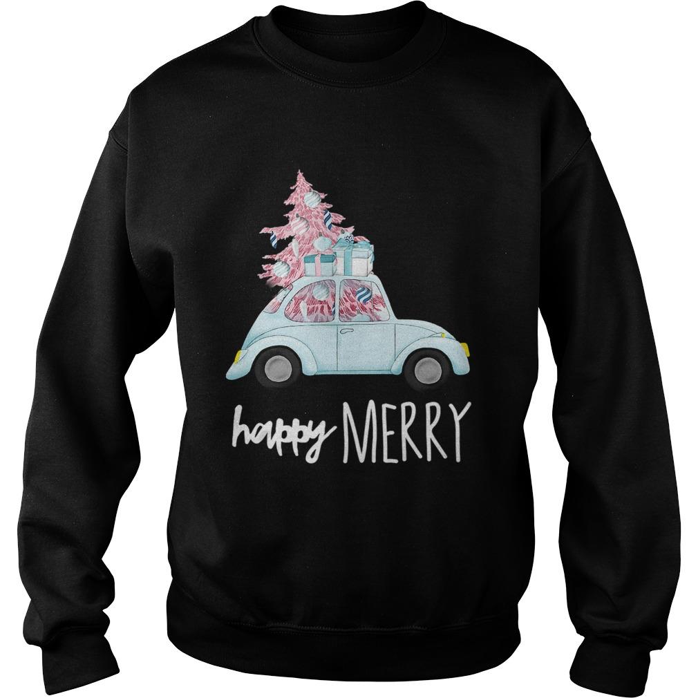 Happy Merry Vintage Car Christmas Holiday Pink Xmas Tree Sweatshirt