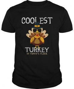 Hot Kids Coolest Turkey In The Towns Flock Thanksgiving boys  Unisex