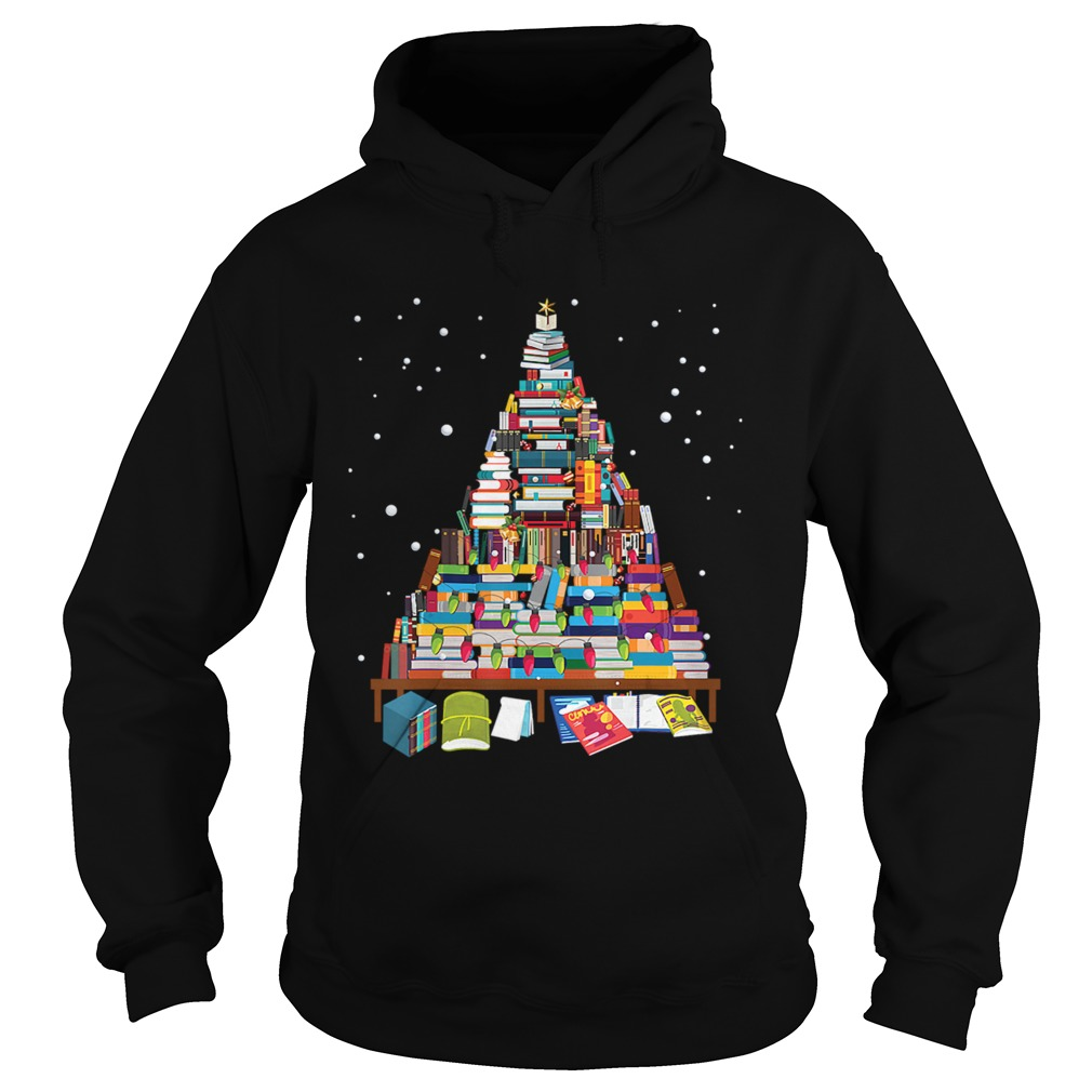 Merry Christmas Library Tree Gift For Book Lover Librarian Hoodie