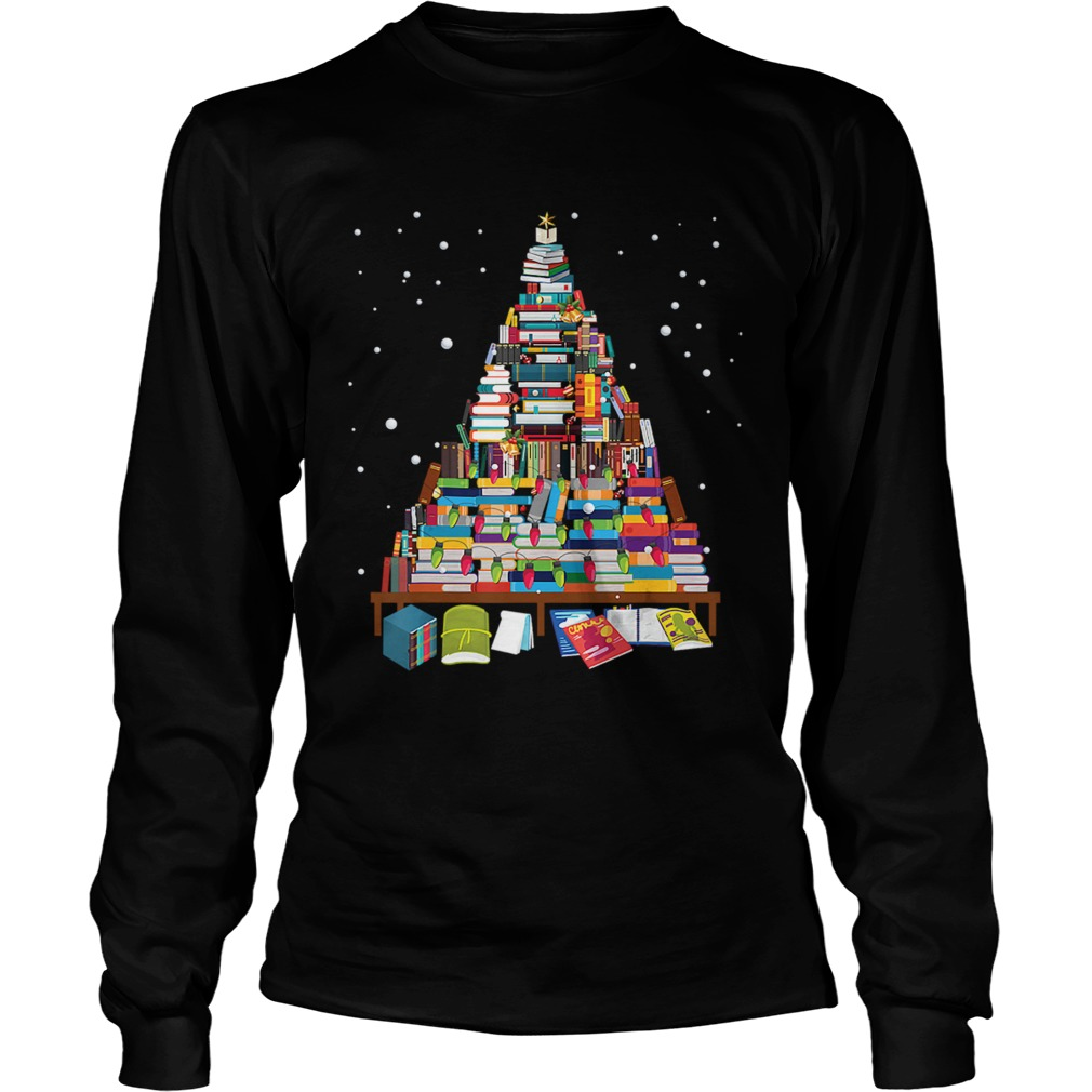 Merry Christmas Library Tree Gift For Book Lover Librarian LongSleeve