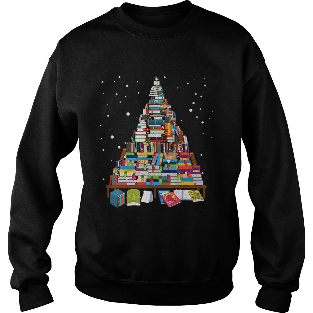Merry Christmas Library Tree Gift For Book Lover Librarian Sweatshirt