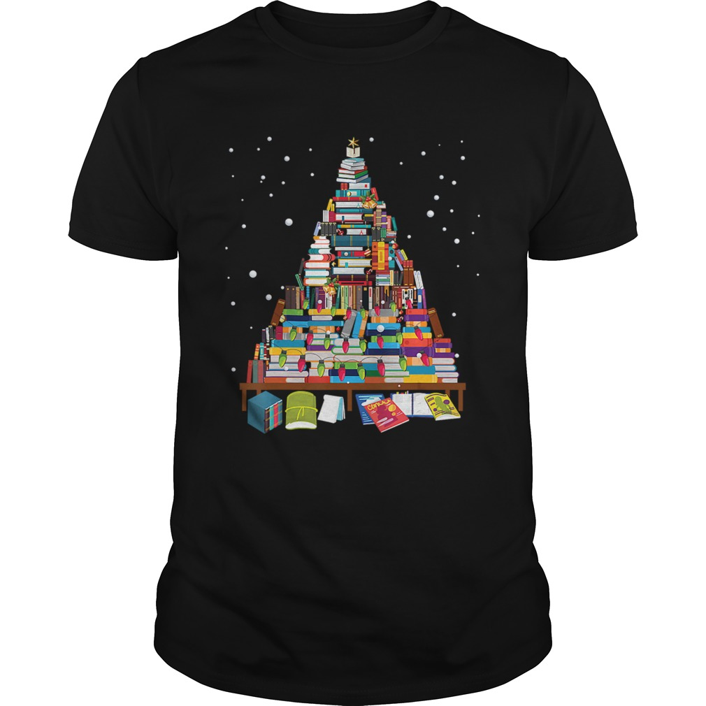Merry Christmas Library Tree Gift For Book Lover Librarian Unisex