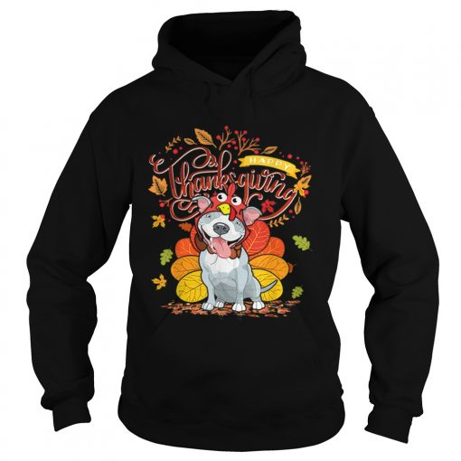 Nice Pit bull Wearing Turkey Hat Fall Autumn Happy Thanksgiving  Hoodie