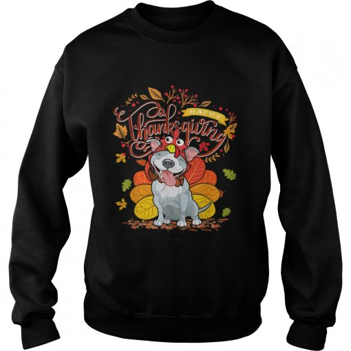 Nice Pit bull Wearing Turkey Hat Fall Autumn Happy Thanksgiving  Sweatshirt