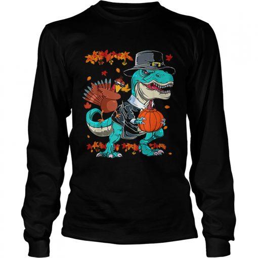 Original Thanksgiving TRex Dinosaur Dabbing Turkey Funny Gift Boy  LongSleeve