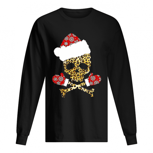 Santa Skull Leopard Christmas  Long Sleeved T-shirt