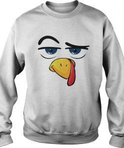 Turkey Face Thanksgiving White  Sweatshirt