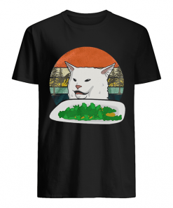 Woman Yelling Confused White Cat At Dinner Vintage  Classic Men's T-shirt