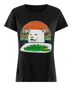 Woman Yelling Confused White Cat At Dinner Vintage  Classic Women's T-shirt