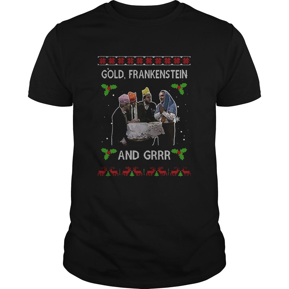 Gold Frankenstein And Grrr Ugly Xmas Christmas Shirt Masswerks Store