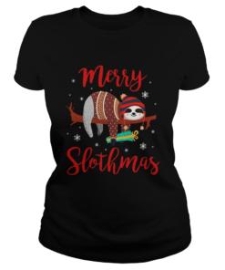 Merry Slothmas Sloth In Santa Hat Christmas  Classic Ladies