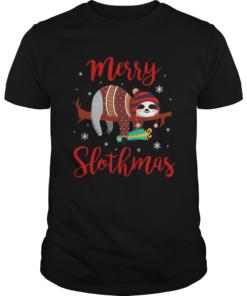 Merry Slothmas Sloth In Santa Hat Christmas  Unisex