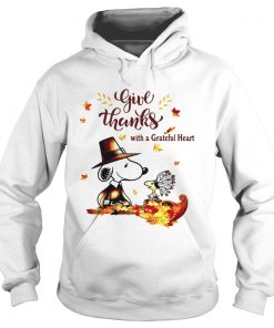 Snoopy and Woodstock Give thanks with a Grateful heart  Hoodie