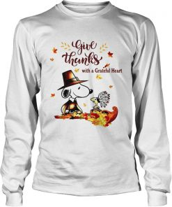 Snoopy and Woodstock Give thanks with a Grateful heart  LongSleeve