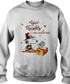 Snoopy and Woodstock Give thanks with a Grateful heart  Sweatshirt