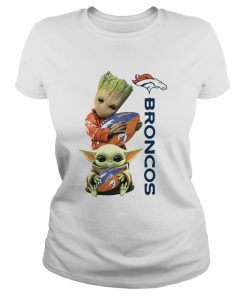 Baby Groot And Baby Yoda Hug Broncos  Classic Ladies