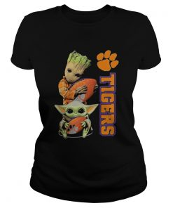 Baby Groot And Baby Yoda Hug Clemson Tigers  Classic Ladies