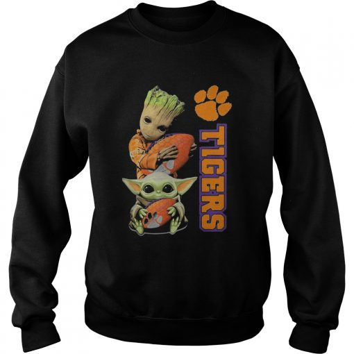 Baby Groot And Baby Yoda Hug Clemson Tigers  Sweatshirt