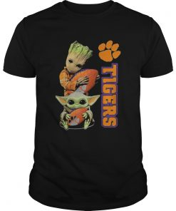 Baby Groot And Baby Yoda Hug Clemson Tigers  Unisex