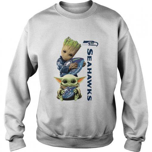 Baby Groot And Baby Yoda Hug Seahawks  Sweatshirt