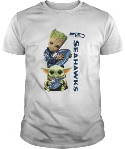 Baby Groot And Baby Yoda Hug Seahawks  Unisex