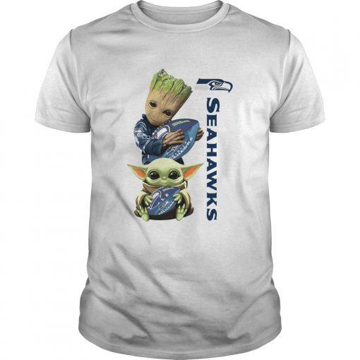 Baby Groot And Baby Yoda Hug Seahawks  Unisex