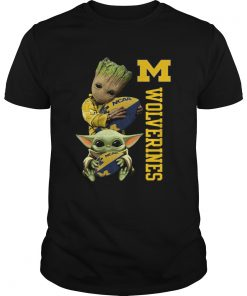 Baby Groot And Baby Yoda Hug Wolverines  Unisex